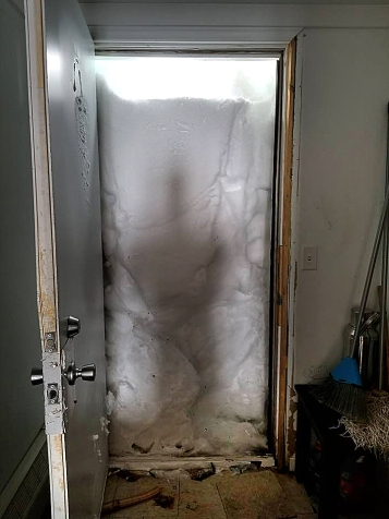snow in door